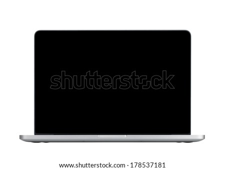 Laptop with blank black screen. Isolated on white background - stock photo