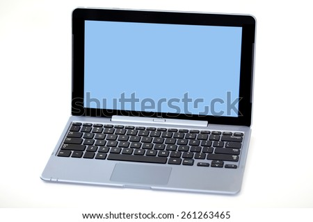 Laptop with blank screen - stock photo