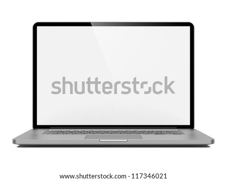Laptop with Blank Screen. Front View on White Background.