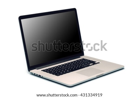 Laptop with blank screen isolated on white - stock photo