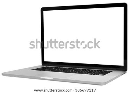 Laptop with blank screen isolated on white background, dark aluminium body.Whole  in focus. High detailed.