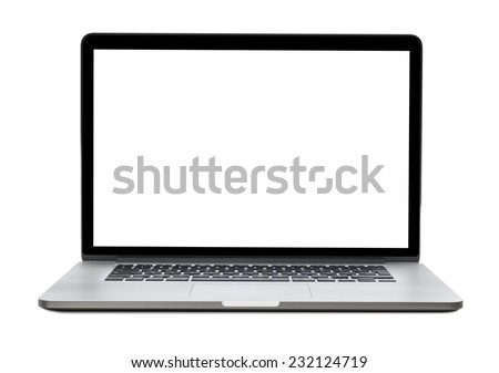 Laptop with blank screen isolated on white background, white aluminium body. - stock photo
