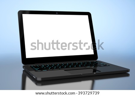 Laptop with Blank Screen on a blue background
