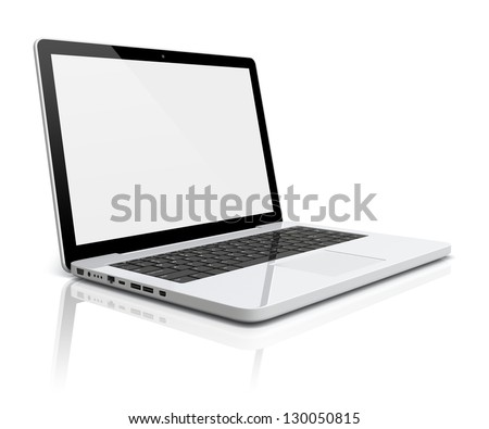 Laptop with blank screen on a white background. 3d image