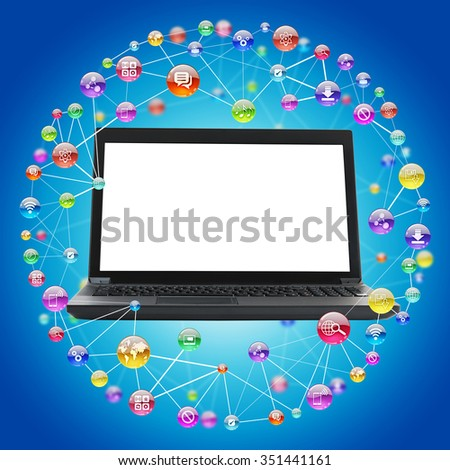 Laptop with blank screen on blue background with comtuter icons - stock photo