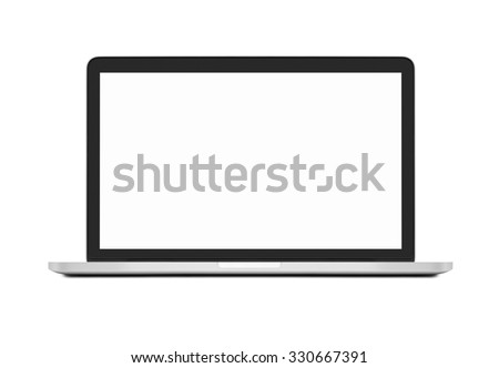 Laptop with blank screen on white - stock photo