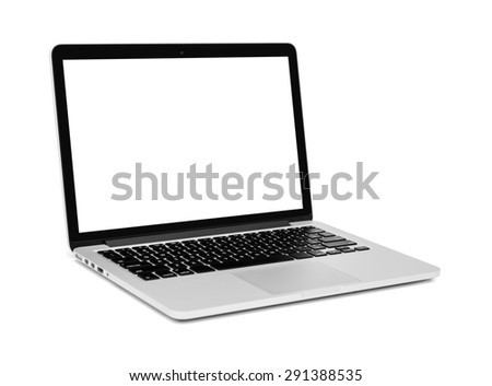 Laptop with blank screen on white background - Clipping path - stock photo