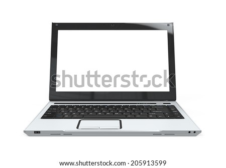 Laptop with Blank White Screen