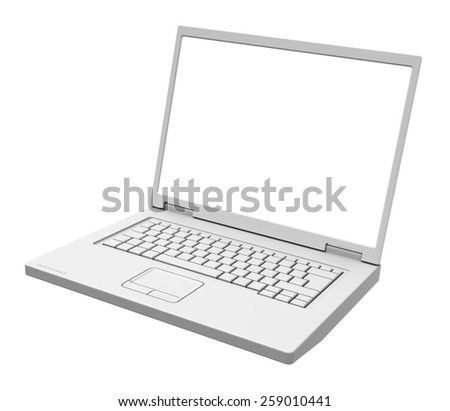 Laptop with blank white screen isolated over white. Computer generated 3D photo rendering. - stock photo