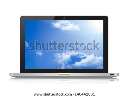 Laptop with blue sky  on the screen. Isolated on a white. - stock photo