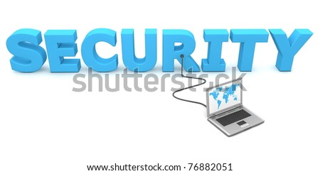laptop with blue worldmap is connected to the blue 3D word SECURITY - stock photo