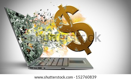 laptop with broken screen on fire symbol of currencies background  - stock photo
