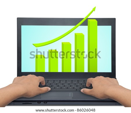laptop with business or profits growth graph - stock photo