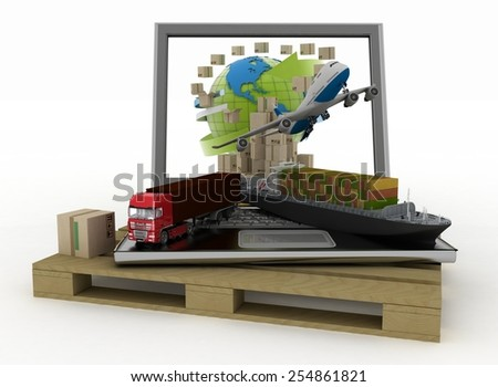 Laptop with cargo ship, truck, plane and boxes around globe on  wooden pallet. Concept of online goods orders worldwide - stock photo