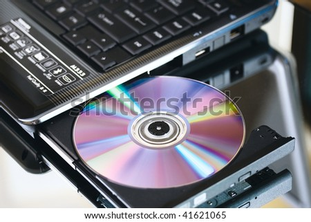 Laptop with cd dvd recorder. Close up.