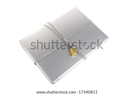 Laptop with chains and combination padlock isolated on white - stock photo