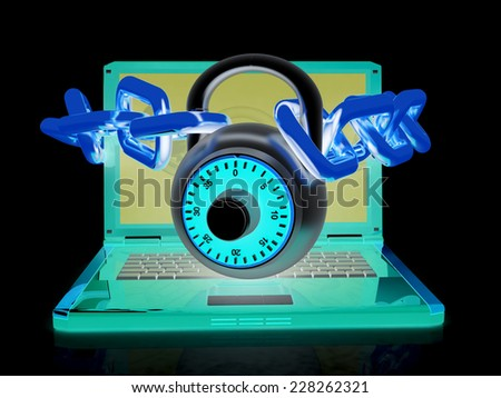 Laptop with chains and lock.3d illustration on black isolated background.  - stock photo