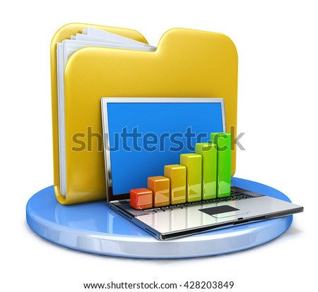 laptop with chart and file folder in the design of the information related to the transfer of data. 3d illustration - stock photo