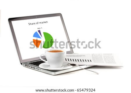 Laptop with chart, cappuchino cup and newspaper. Isolated on white - stock photo