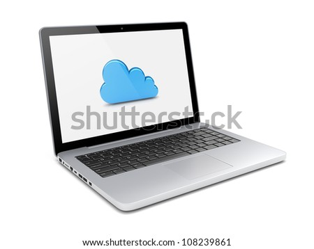 Laptop with cloud computing symbol on a screen. 3d image - stock photo