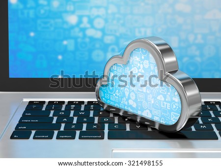 Laptop with cloud computing symbol on keyboard. 3d render - stock photo