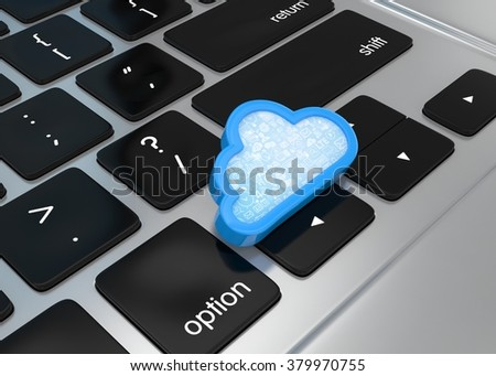 Laptop with cloud computing symbol on keyboard. 3d render