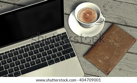 laptop with coffee cup and book  on old wooden table  - 3d rendering