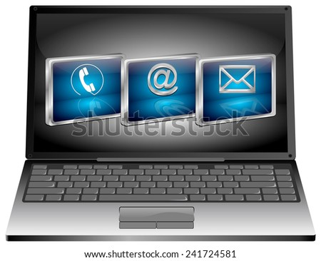 Laptop with contact us button - stock photo