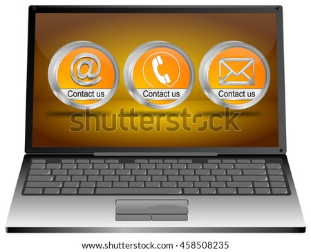 Laptop with contact us button - 3D illustration - stock photo