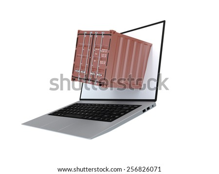 Laptop with container for transport of cargo - stock photo