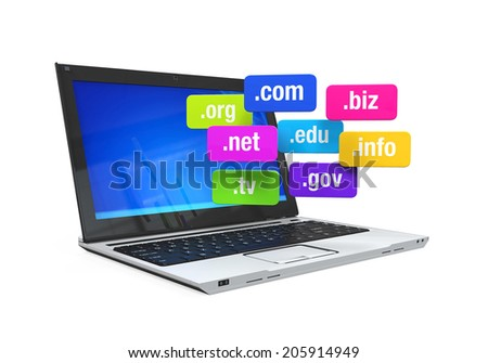 Laptop with Domain Names - stock photo