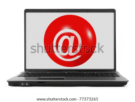 Laptop with e-mail symbol, image on the screen has a clearly visible net simulating display pixels - stock photo