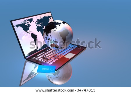 Laptop with earth and credit card map courtesy nasa - stock photo