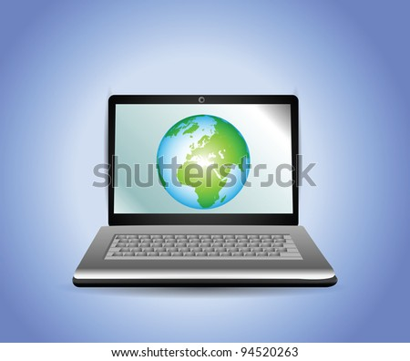 Laptop with Earth Globe