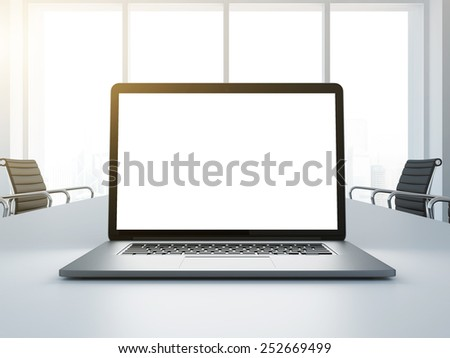 Laptop with empty display on office desk. 3d rendering - stock photo