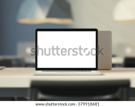 Laptop with empty screen. Work place in loft office. 3d render - stock photo
