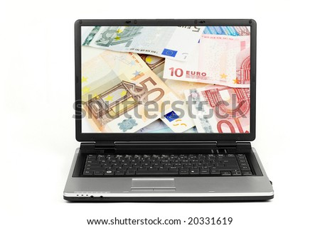 Laptop with euro money on screen isolated on white