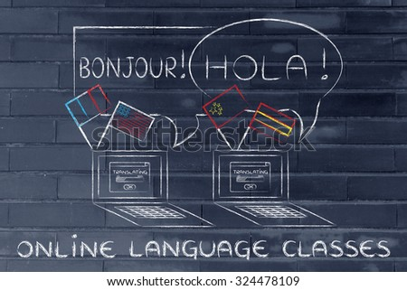 laptop with flags speaking foreign languages, concept of attending online classes - stock photo