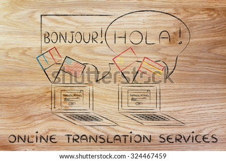 laptop with flags speaking foreign languages, concept of online translation services - stock photo