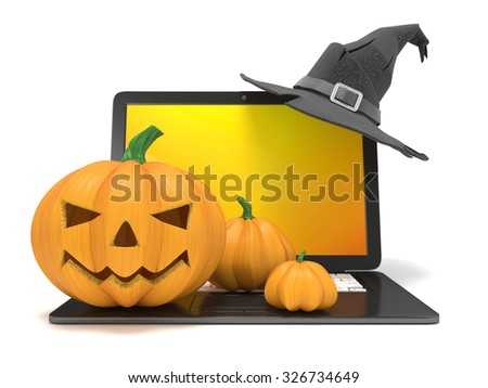 Laptop with funny Jack O Lantern and Halloween witch hat. 3D render illustration isolated on white background - stock photo