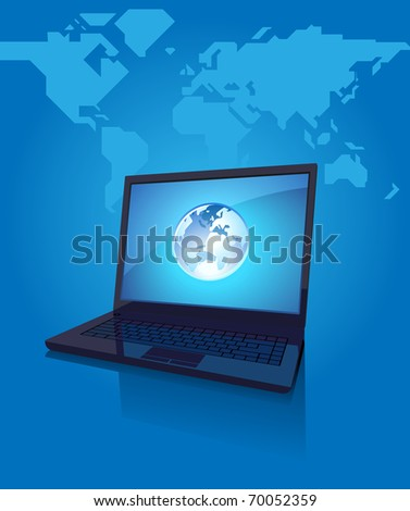 Laptop with globe on screen. Blue background with map of the World. Raster version. Vector version is also available.