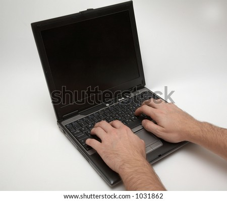 Laptop with hands
