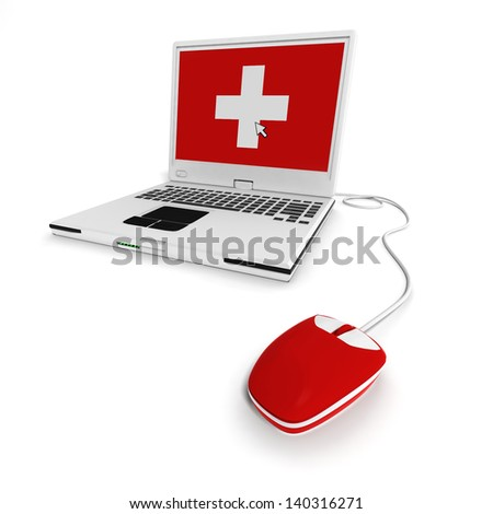 laptop with health background - stock photo