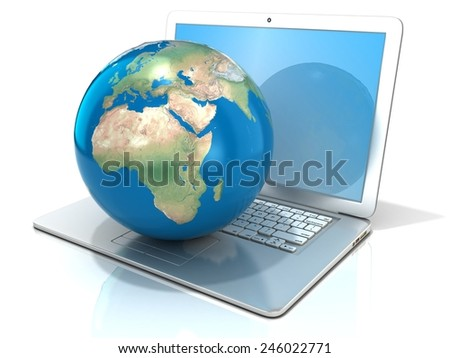 Laptop with illustration of earth globe, Europe and Africa view. 3D rendering isolated on white background. Elements of this image furnished by NASA - stock photo