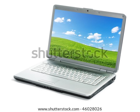 Laptop with image isolated on white - stock photo