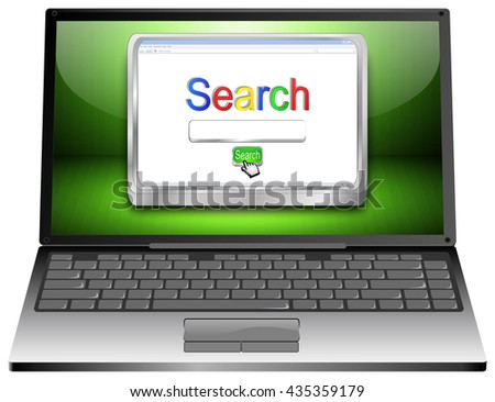 Laptop with internet web search engine - 3D illustration - stock photo
