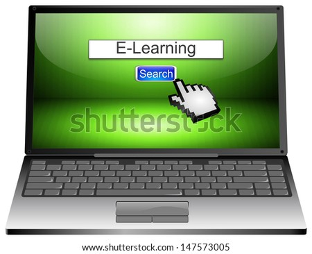 Laptop with internet web search engine e-learning - stock photo