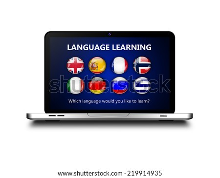 laptop with language learning page over white background - stock photo