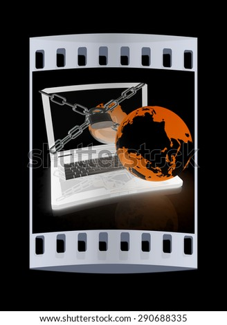 Laptop with lock, chain and earth on a black background. The film strip - stock photo