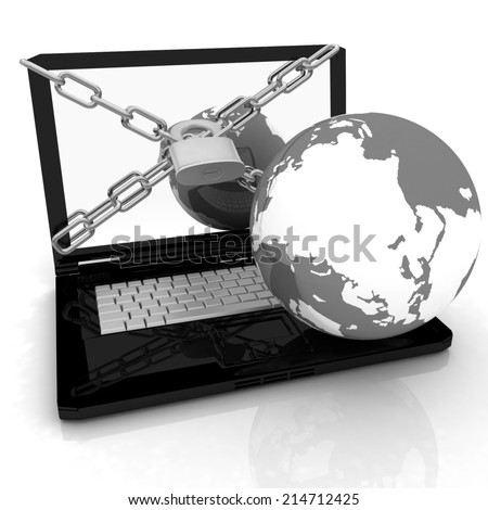 Laptop with lock, chain and earth on a white background - stock photo